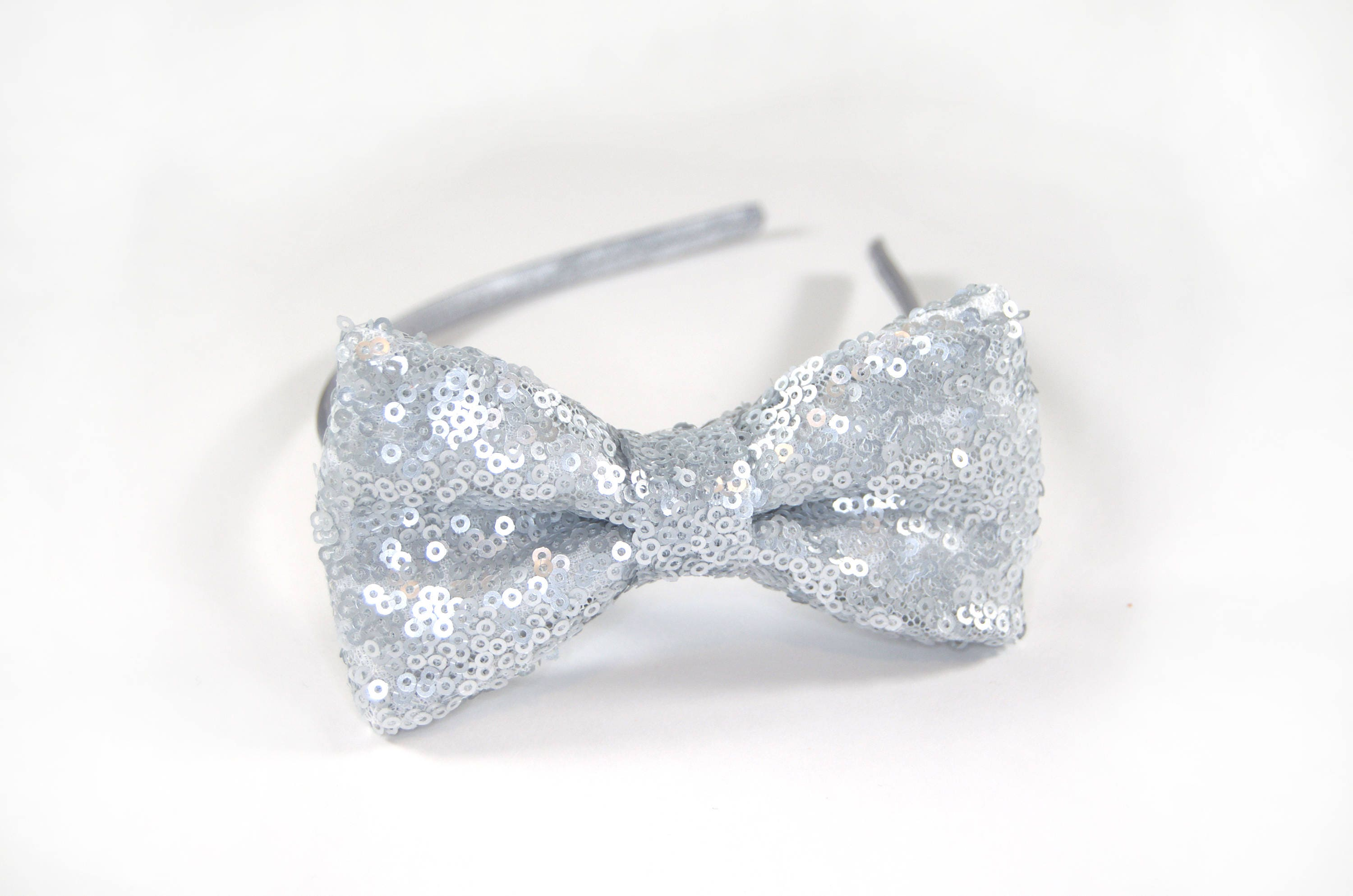 Silver sequin Headband Silver hairbow sequin hairbow  d180bdbd1a3