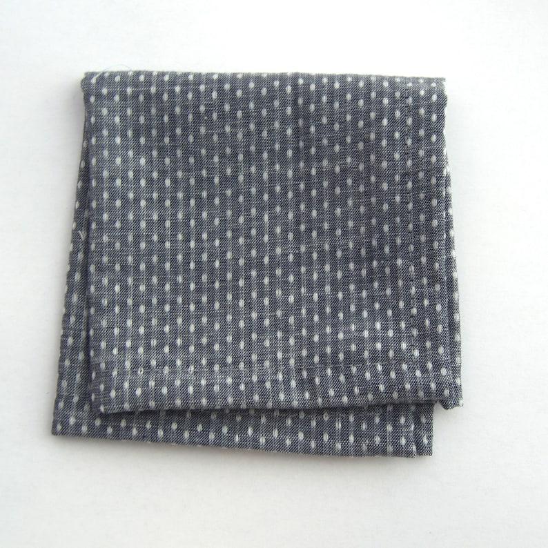 chambray pocket square grey handkerchief grey pocket square child/'s pocket square Grey Chambray Dot pocket square men/'s pocket square