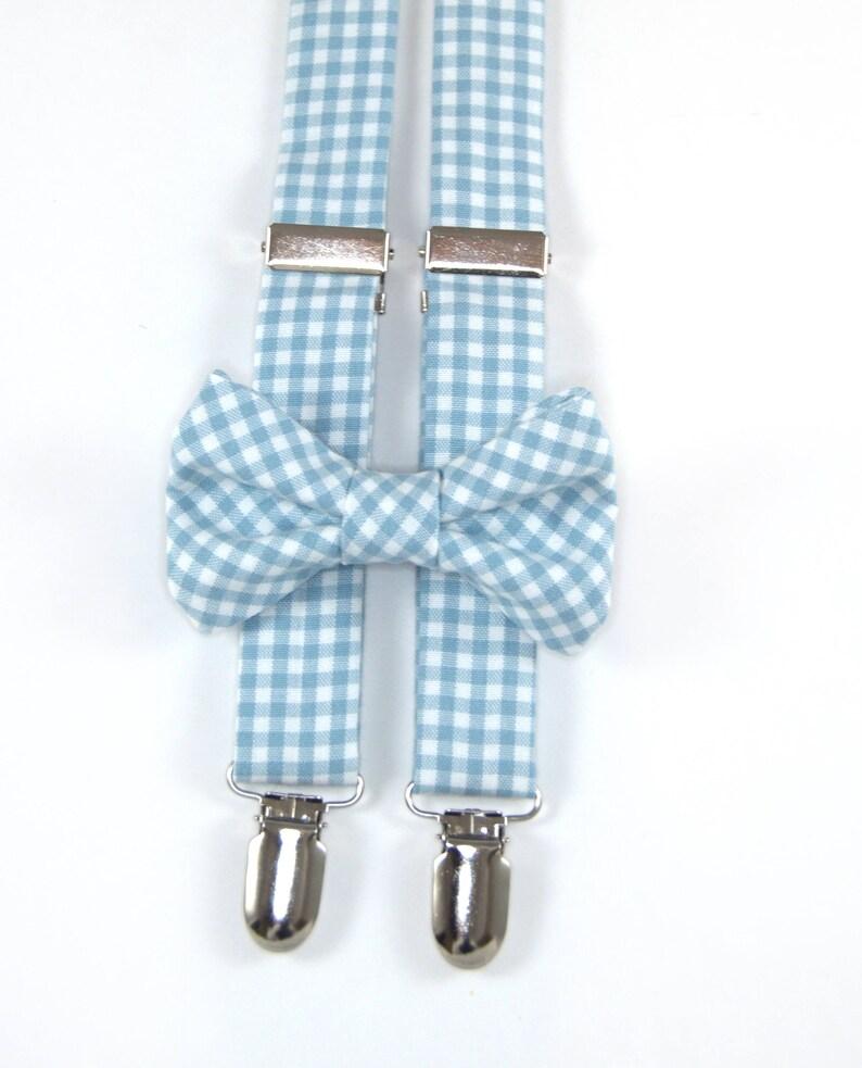 6c3986196530 Light Blue Gingham Bow Tie & Suspenders Set blue gingham   Etsy