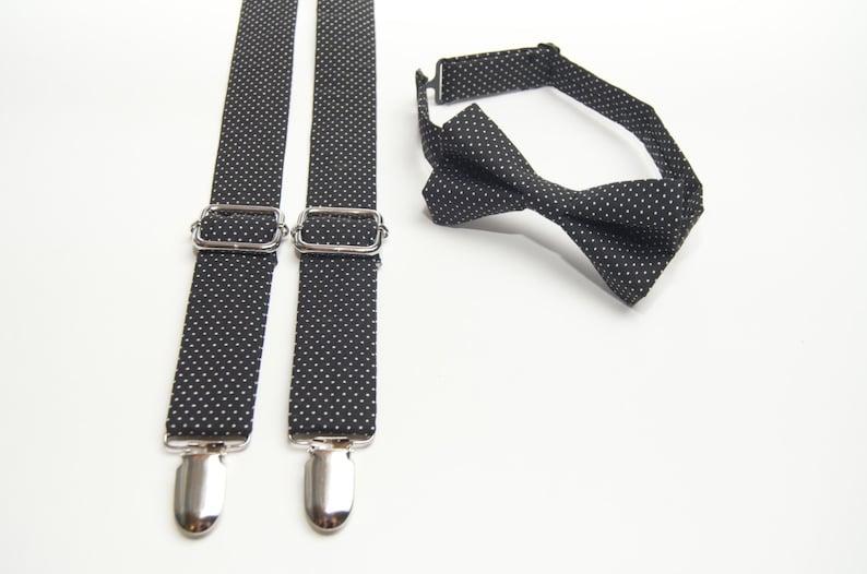 90fe67c57 Black Polka Dot Bow Tie   Suspenders Set ring bearer outfit
