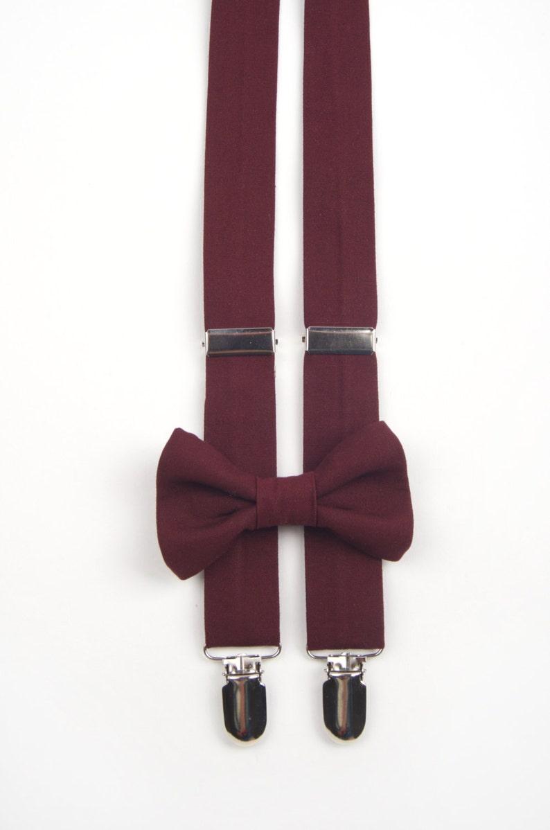 7c9a90dab0a Burgundy bow tie   suspenders men s bow tie boys bow