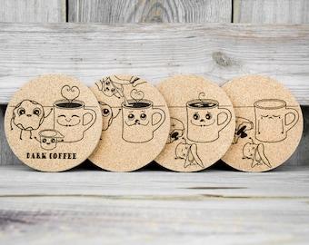 Cork Coasters - Dark Coffee - Dark Humor - Set of 4