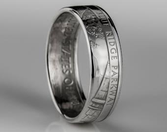 Blue Ridge Parkway Quarter - Coin Ring - SILVER (.900)
