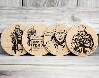 Cork Coasters - Bernie Sanders - Mittens Meme - Set of 4