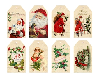 INSTANT DOWNLOAD, Vintage Christmas Santa Claus Tags, Christmas Tags, Printable Tags, Digital Collage Sheet