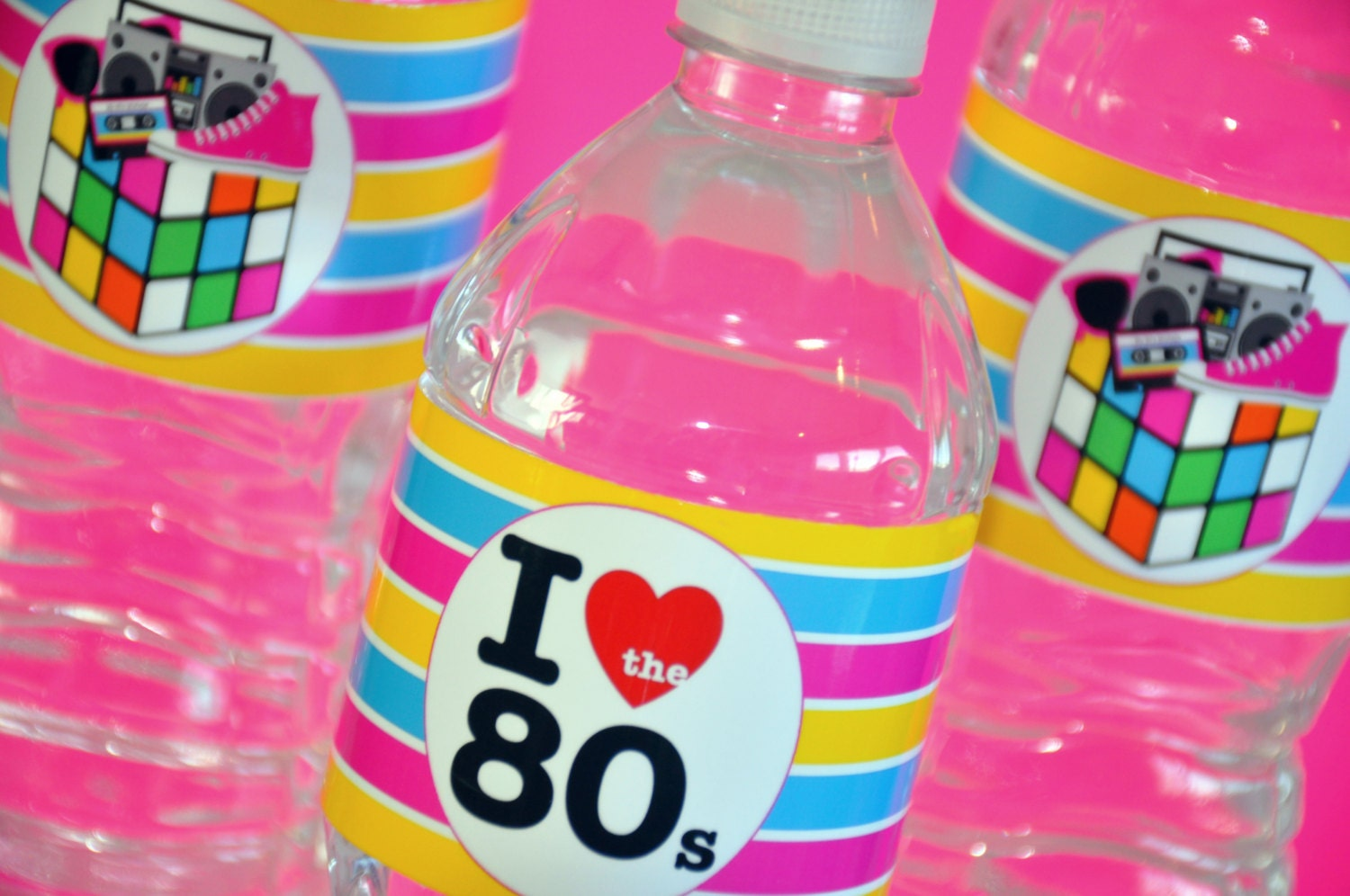 INSTANT DOWNLOAD 80\'s Theme Party Water Bottle Labels   Etsy