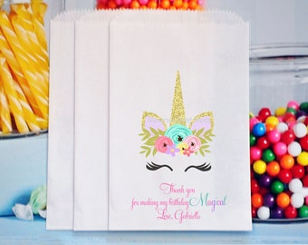 Unicorn Favor Bags, Unicorn Popcorn Bags, Unicorn Birthday, Unicorn face, Unicorn Party Favors