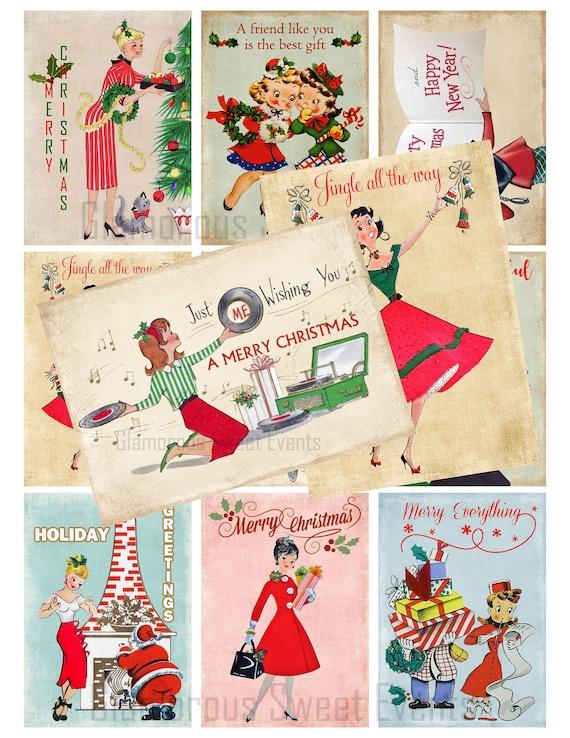 Instant Digital Download Printable Shabby Pastel Retro Vintage Christmas Gift Hang Tags