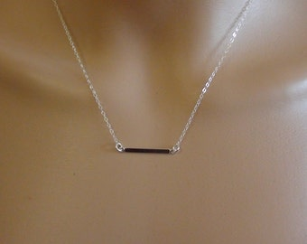 Sale-Sterling Silver Bar Link Connector - Sterling Silver Necklace, simple modern necklace