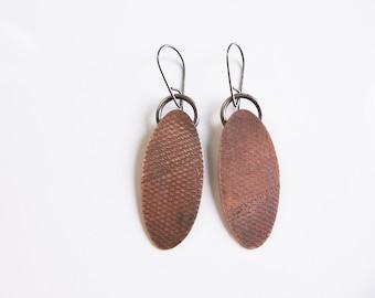 Copper and silver earrings, copper dangle earrings, Handmade metalwork jewelry, Oval earrings, rustic earrings, oxidized copper earrings