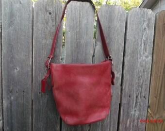 497bd9fdb1 Vintage Coach G2J-9186 Red Leather Legacy Duffel