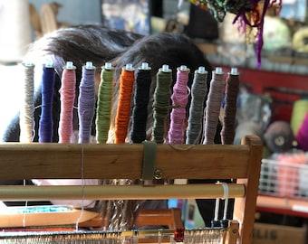 weaving bobbin rack maple holds 12 wound bobbins and park your Saori boat shuttles on it too  in stock ready to ship: Saorisantacruz