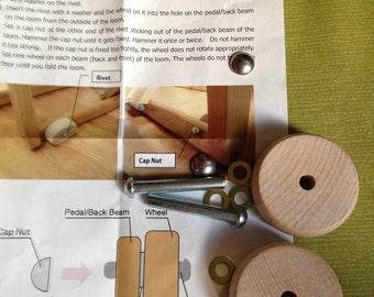 Wooden loom wheels set  for  the WX60 Saori looms:Saorisantacruz