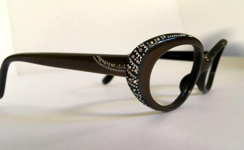 09e213ec77b Vintage Rhinestone Eyeglass Frames L. Evrard 1950s Eyeglasses