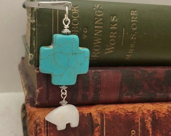 Cross and Bear Bookmark, White Jade Bear, Southwestern Themed, Turquoise Blue Cross, Useful Gift, Faith, Book Lover Gift, Unisex Gift