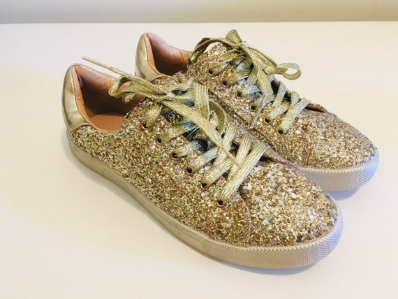 Gold Sparkle Sequin Running Shoes | Size 8 Running