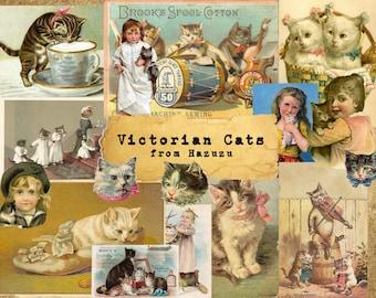 VICTORIAN CATS Bundle Printable Ephemera Kittens Vintage Paper instant download digital collage junk journal