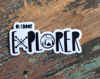 Outdoor Explorer Vinyl Sticker, nature explorer decal, outdoor adventure, outdoor adventure decal, outdoor lover decal