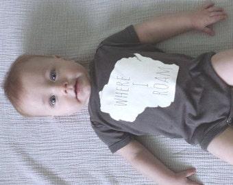 Wisconsin Where I Roam baby bodysuit, Wisconsin baby gift