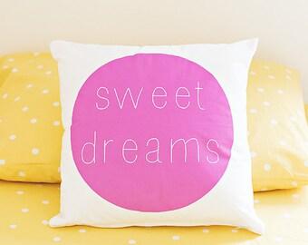 Throw Pillow, Home Decor, Sweet Dreams Pillow, Modern Kids Pillow, Kids Decor