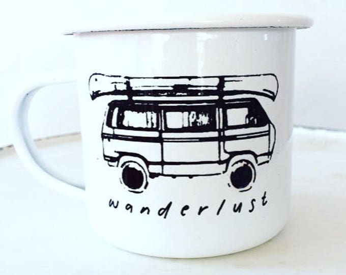 Camp Mug, Wanderlust, Outdoor Adventurer White Mug Enamel Mug