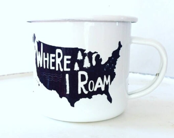 Camp Mug, Explore USA, National Parks, Outdoor Explorer, Outdoor Adventurer White Mug Enamel Mug