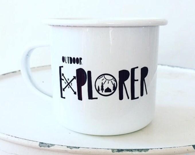 Camp Mug, Outdoor Explorer, Outdoor Adventurer White Mug Enamel Mug
