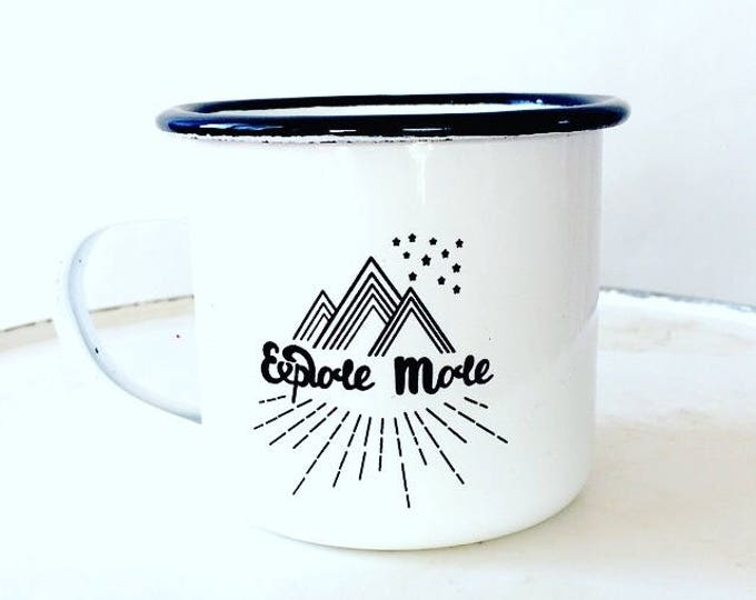 Camp Mug, Explore,  Explore Mug, Outdoor Explorer, Outdoor Adventurer White Mug Enamel Mug