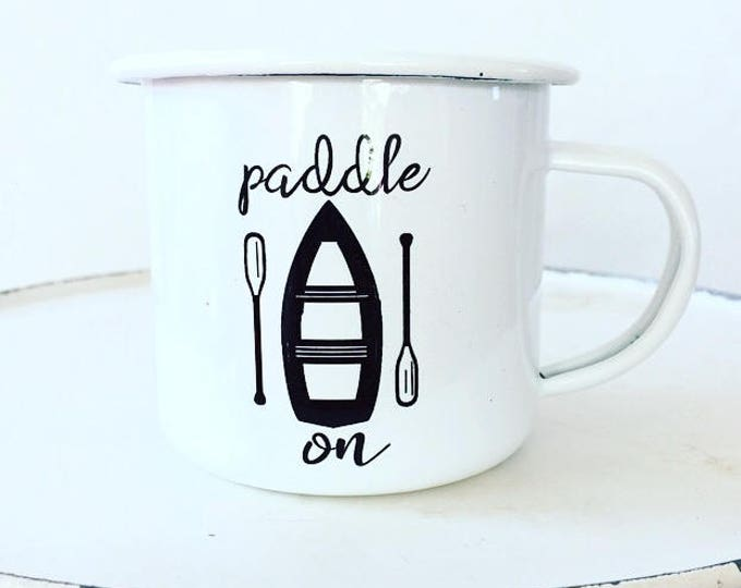 Camp Mug, Lake Life, Canoe,  Outdoor Adventurer White Mug Enamel Mug