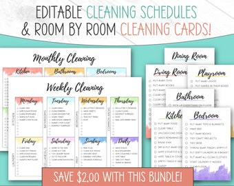 Editable Cleaning Cards and Cleaning Schedule   Two Listings For a Great Price   Cleaning Checklists   Editable   Printable   Downloadable