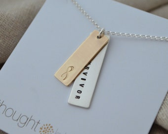 Cancer Survivor Necklace - Gold and Silver - Customize - Personalize - Hand Stamped