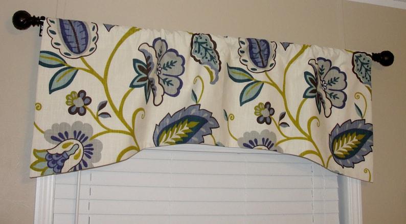 P Kaufmann Petal Pusher Arch Shaped Valance 52x 19 Big Bold Flowers Lined Periwinkle Indigo Brown Citrine Grey Aqua