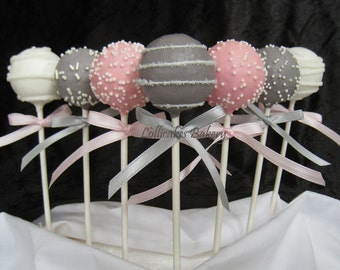 Cake Pops: Pink and Gray Baby Shower Cake Pops made with High Quality Ingredients, 1 dozen cake pops