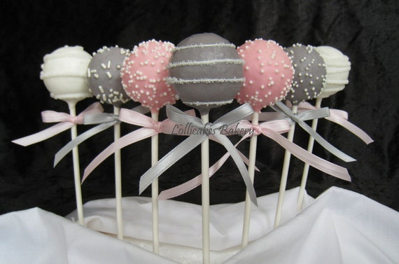 Cake Pops Pink And Gray Baby Shower Cake Pops Made With High Etsy