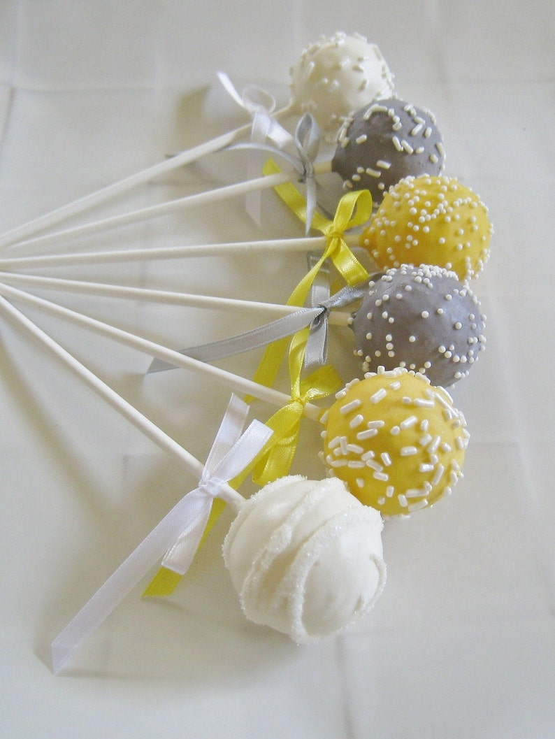 Cake Pops Yellow And Gray Baby Shower Cake Pops Made To Order Etsy
