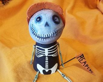 Halloween doll found objects assemblage on of a kind ooak baseball head cap creepy cute adorable boy