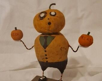 Lumpy McPumpkinhead handmade halloween doll with pumpkin head, original, ooak
