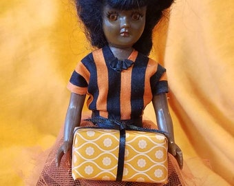 Vintage doll halloween party witch hat upcycled orange and black stripe dress  African American girl