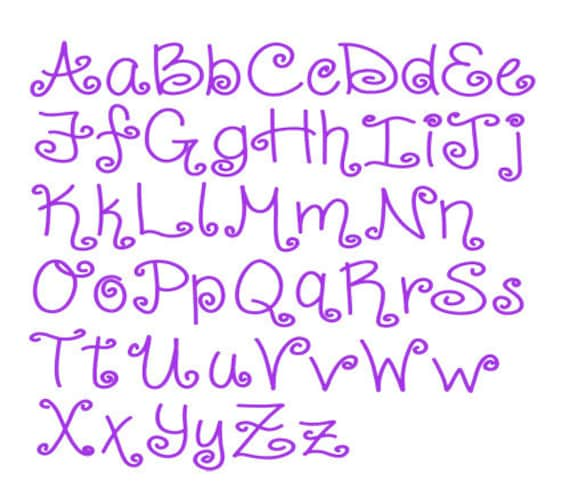 Embroidery Font Design 239 Instant Download Curly Shirley Sizes 1,2,3
