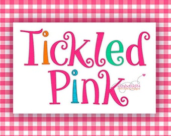 """BX format - Sizes 1"""",1,50"""",  2"""" - Instant Download - Tickled Pink -  Embroidery Font Design 262- Machine embroidery design. Individual files"""