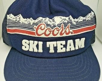 8a5930f0b3875 Coors Light Beer Vintage Ski Team Trucker Snapback Hat