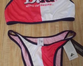 c55b75abfc5bc Budweiser Beer Vintage Swimwear Bathing Suit Bikini 9 10