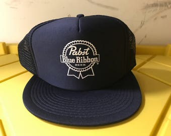 Pabst Blue Ribbon Beer Vintage Trucker Baseball Hat 9ac8e3982