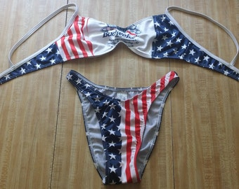 b421488b13 Budweiser Beer Vintage Beach Bikini Bathing Suit Swimwear LRG 9 10