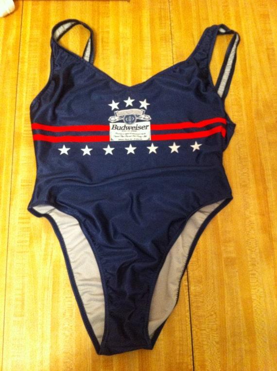 716f41a8bb Budweiser Beer Vintage Beach Bikini Swimsuit Size 11 12
