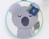 Felt Koala Nursery Wall Art with Painted Embroidery Hoop for Baby Girl