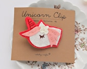 Unicorn Hair Clip, Felt Hair Accessory, Back to School Accessory, Girls Hair Clip, Baby Hair Clip, Alligator Clip, Gift for Granddaughter