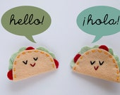 Set of 2 Taco Hair Clips, Felt Taco Hair Accessories, Back to School Accessory, Kawaii Taco, Girls Hair Clip, Alligator Clip