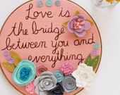 Rumi Quote Wall Art, OOAK, Girls Room Wall Art. Motivational Gift, Embroidery Hoop Art. Felt Flower Wall Art
