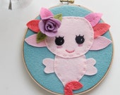 Axolotl Animal Wall Art - Axolotl gift for her - Whimsical Creature - Mexican Walking Fish - Kawaii cute - Felt Hoop Art - Embroidery Art